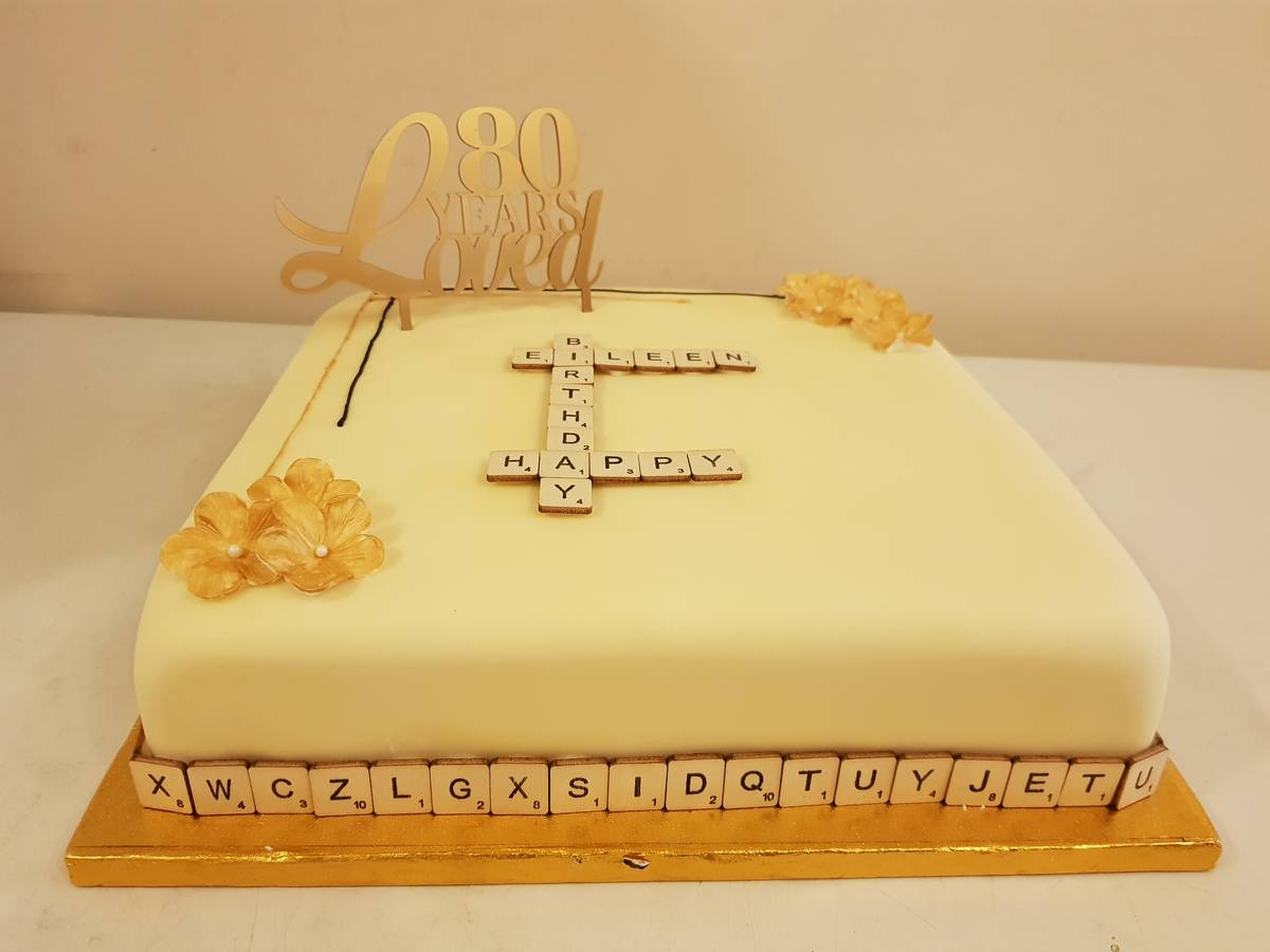 An image of Birthday Cake for 80 Years Young Scrabble Fan goes here.